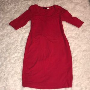 Red half sleeve bodycon dress